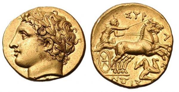 Antica moneta di età ellenistica in cui l'effige di Agatocle, potente e spietato tiranno di Siracusa il cui obiettivo politico fu quello di creare in Sicilia una monarchia di stampo ellenistico, è riprodotta con le sembianze del dio Apollo