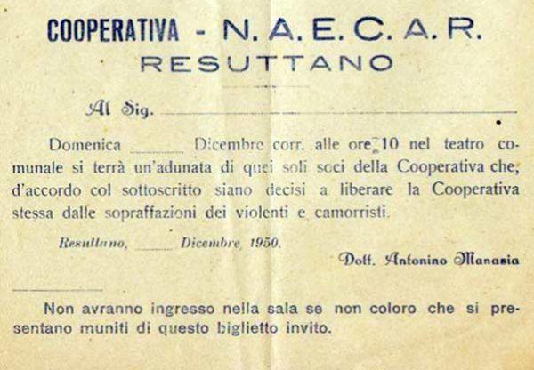Biglietto di invito all'Associazione NAECAR