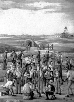 Immagine degli zolfatari riuniti alla fine di una giornata di lavoro