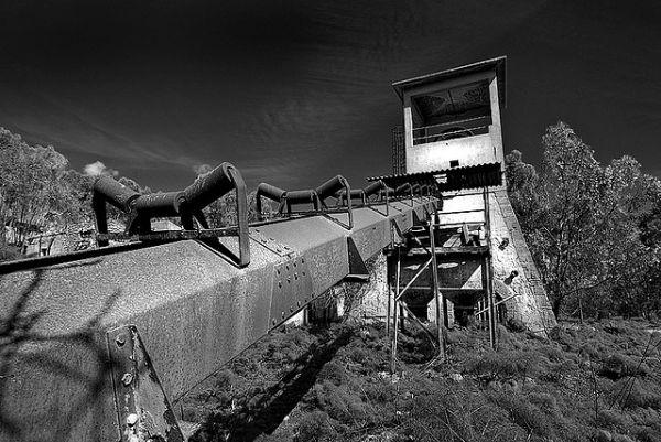 Nastro trasportatore alla miniera Gessolungo a Caltanissetta